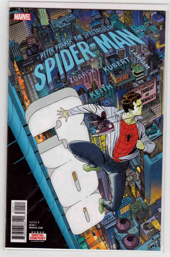 Peter Parker, Spectacular Spider-Man #300 (2018) Marcos Martin Cover, Chip Zdarsky Story, Adam Kubert Pencils, (Marvel Legacy Tie-In)